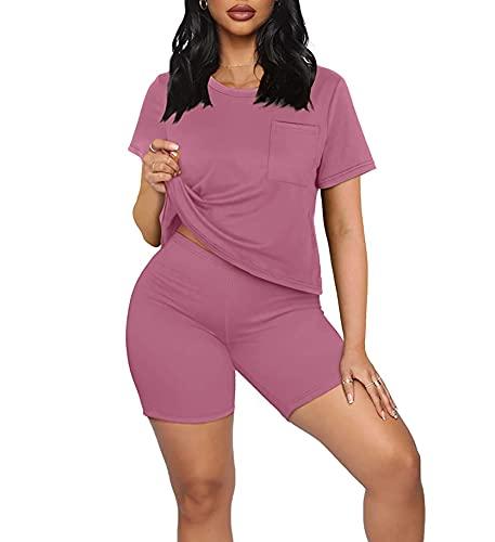 Tie Dye - Conjunto de 2 piezas para mujer, talla grande, camiseta de manga corta y pijama corto para motociclista, conjuntos de chándal de dos piezas
