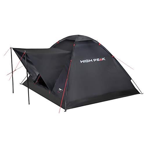 High Peak Campingzelt 3 Personen, 1500mm wasserdicht, Kuppelzelt mit Vorbau, Igluzelt mit Wetterschutz- Dach, Festivalzelt mit Wannenboden