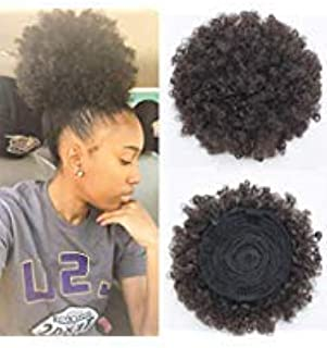 Synthetic Short Afro Kinky Curly Pony Tail High Puff Afro Ponytail Drawstring Ponytail(Black 1b)