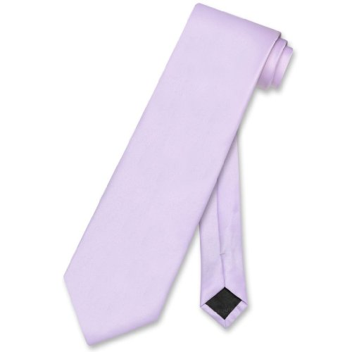 Vesuvio Napoli NeckTie Solid Lavender Purple Color Men's Neck Tie, Lavender Light Purple, One Size