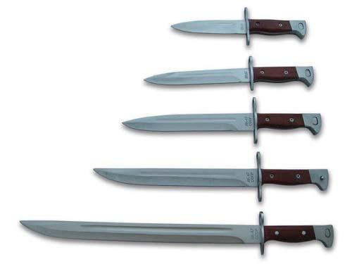 KOSxBO® 6 Messer Set 26cm + 31cm + 34,5cm + 39cm + 51cm Russisches AK-47 - CCCP Bajonett - Militär Bayonet Kampfmesser - Seitengewehr - Jagdmesser - Survival - Gürtelmesser inkl. Scheide
