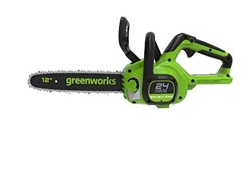 Greenworks Motosierra eléctrica con batería G24CS30 Li-Ion 24V velocidad de cadena 7.8m/s longitud de corte 30cm lubricación automática volumen depósito de aceite 160ml sin batería & cargador