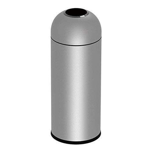 NYKK Cubos de Basura para Exterior Abrir Papelera Top Comercial Puede Mall Area Oficina al Aire Libre de la Basura Can13 GAL / 50L Pesada Reciclaje de Residuos (Color : Silver, tamaño : L)