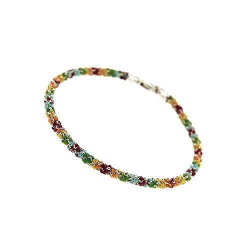 Etru Jewels Handgemaakte Vrouw Armband Tondo Wit Zilver gaas Multi kleuren draad