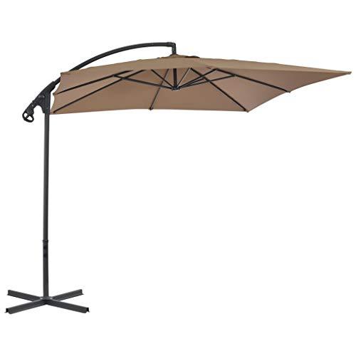 vidaXL Parasol d'Extérieur Mât en Acier 250x250 cm Taupe Jardin Terrasse Patio