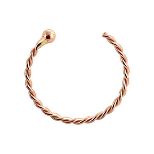 9K goud 22 gauge - 8 mm diameter continue twister met open balpiercing neus piercing ring