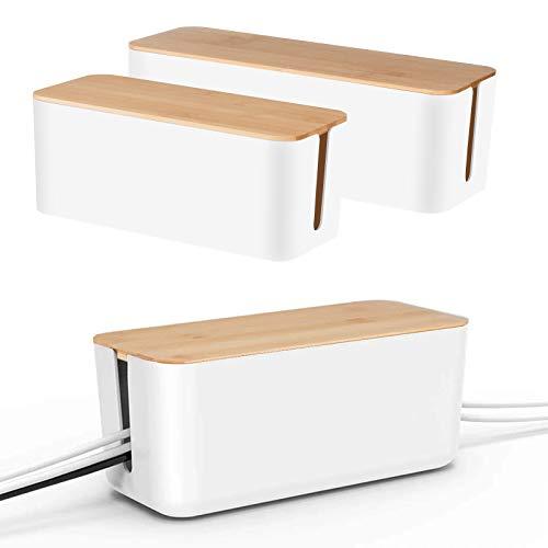 Juego de 2 organizadores de cables de Baskiss, tapa de madera, organizador de cables para ordenador de escritorio, con hub USB para ocultar y regletas y cables (blanco)