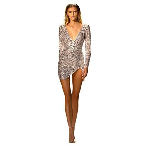 iYmitz Paillettenkleid Gold Damen Mode Reizvolle V-Ausschnitt Langarm Glitzer Partykleid Abendkleider Pailletten Minikleid Kurz Kleider