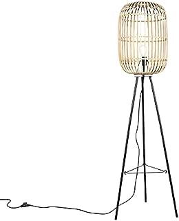 Qazqa Lampadaire | Lampe sur pied Rustique - Manila Lampe Beige Noir - E27 - LED incluse - 1 x 7 Watt