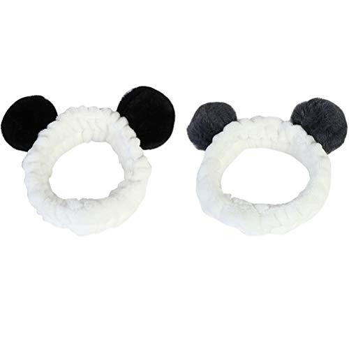 Lurrose 2 stücke Make-Up Stirnbänder Niedlichen Panda Ohr Weiche Frauen Stirnbänder für Kosmetische Gesichtsdusche Spa Yoga Sport Elastisches Haarband Haarspitze für mädchen Frauen (Schwarz Grau)