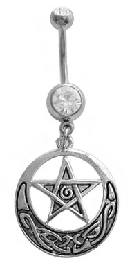 Clear cz Star Celtic Tribal Pentacle Wicca Wiccan Goth Witch Unique Surgical Steel Dangle Belly Button Navel Ring Piercing bar Body Jewelry 14g