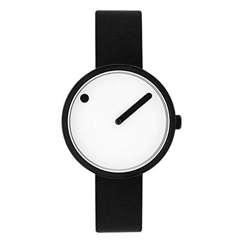 Picto dames horloge klein met witte wijzerplaat en zwart lederen band 43343-4112MB