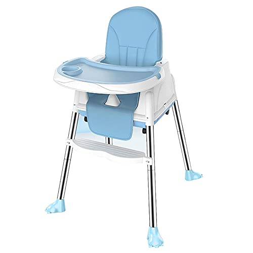WALLHANG KaO0YaN,Toddler Booster Chair, Kids Table, Space Saver High Chair with Fast, Booster Seat, Infant Dining Chairs Removable Tray, with Adjustable Footrest(Blau)