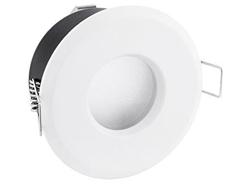 LED Bad Einbaustrahler IP65 weiß rund 230V - Ideal für Badezimmer, Küche oder Außen - Licht warmweiß 6W bei 420 Lumen