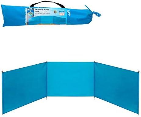 Aktive 53442 Paravientos de playa plegable, Azul, 200 x 75 cm