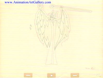 Original Maleficent art from Disney's Sleeping Beauty (1959) - one of a kind Animation Art Production Drawing