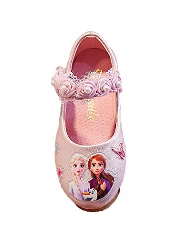 SLSCL Neue Süße Kinderschuhe Frozen Princess Schuhe Mädchen Tanzschuhe Pearl Lace Klettverschluss Einzelschuhe Outdoor Blumen Kinderschuhe