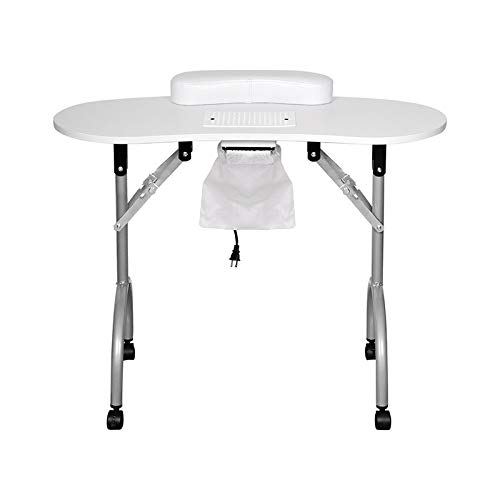 Rainbow Tree Professional Manicure Nail Table Folding Portable Manicure Desk for Family with Lockable Wheels Vented Beauty Salon Spa With Carry Bag, Wrist Pad,Electric Fan(White)
