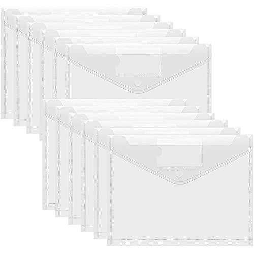 Cartelletta A4, Cartelline con Bottone, 12 A4 Cartelle a Tasca Cartelline Plastica, Cartelline Portadocumenti in Plastica, A4 Portadocumenti Trasparente Busta, Borse di File.(Bianca Cartelletta)