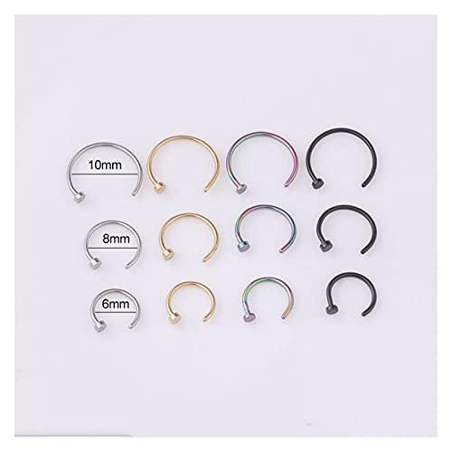 Anillo de la nariz falsa Anillo de nariz de titanio falsos para las mujeres abiertas de aro de aro tipo Hoop Piercing Stud Body Jewelry Accesorios Novedad alternativa ( Metal color : Rhodium 10mm )