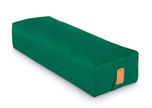 Eckiges Yoga Bolster »Paravati« mit Bio-Dinkelspelz (kbA) / Länge 67cm & Durchmesser 13cm - Yogakissen Meditiationsunterlage Dinkelspelzfüllung Sitzkissen für Meditationen 100% Baumwolle dunkelgrün
