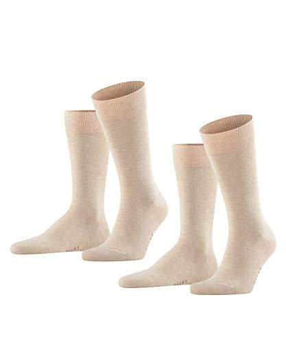 FALKE Herren Happy 2-Pack M SO Socken, Beige (Sand Melange 4650), 43-46 (2er Pack)