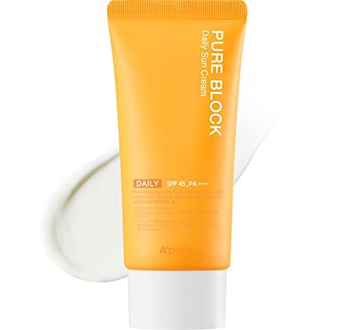 A'PIEU PURE BLOCK Natural Sun Cream SPF45/PA+++ by APIEU