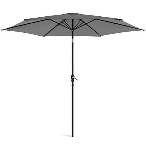 Best Choice Products 10ft Outdoor Steel Polyester Market Patio Umbrella w/Crank, Easy Push Button, Tilt, Table Compatible, Gray