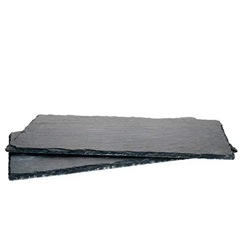 MamboCat 2er-Set Schieferplatte 17x34cm I Rustikaler Stein-Teller aus Schiefer - mit naturbelassener Bruchkante I ideal als Sushi-Platte & Servier-Teller I 2 Stück Servier-Platte Schwarz 17 x 34 cm