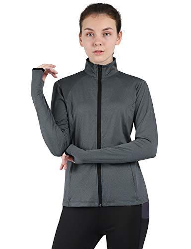 DISHANG Damen Trocken fit Laufjacke Bequem Stretchy Yoga Workout Track Jacke mit Daumenlöchern (Grau, XXXL)