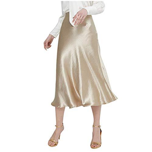 Señoras De La Manera Falda De De Raso Alta Mode Básicos Cintura Cremallera Color Sólido Falda Una Línea Suelta Casuales Duradero Y Ligero para El Hogar De Mujer Elegantes