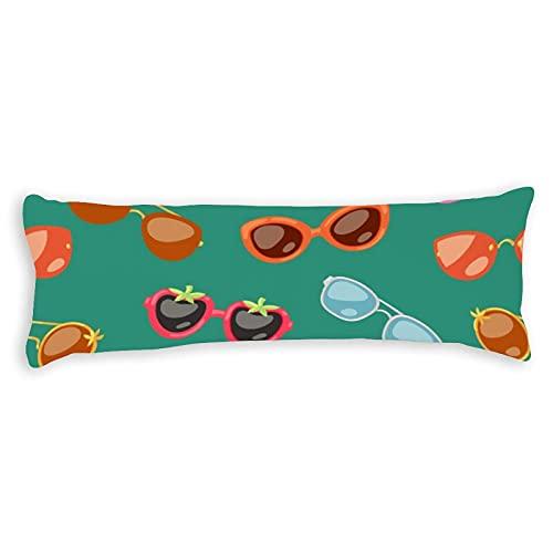 Funda de almohada corporal de algodón de 4 pies 6, gafas de sol de dibujos animados en formas elegantes para fiesta cuerpo funda de almohada linda con cierre de cremallera para niños