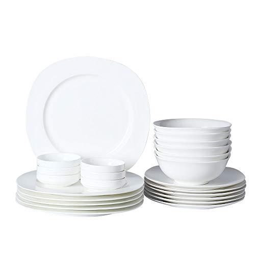 Porlien Modern Bone China 24-Piece Dinnerware Set, White, Service for 6