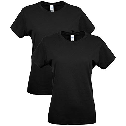 Gildan Women's Fitted Cotton T-Shirt, 2-Pack, Black, Large
