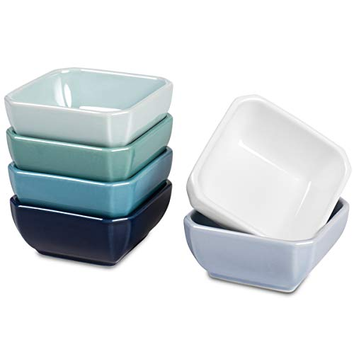 Delling 3 Oz Ceramic Dip/Dipping Bowls Set - Dipping Soy Sauce Bowl/Dishes Small Sauce Bowls Cups for Sushi Tomato Sauce, Soy, BBQ-Chip and Serving Bowl Set - Set of 6,Colorful