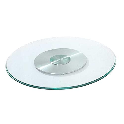 JRPT Lazy susan Vassoio Girevole Vetro temperato da 10 mm ispessito,Piatto girevole Lazy susan piastra rotante in alluminio antiscivolo, resistente e durevole / 90cm/35in / 90cm/35in