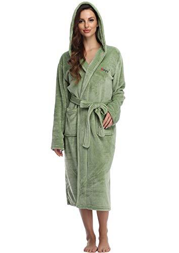 Frauen Fleece Bademantel mit Kapuze Tasche Weicher Warmer Langarm Kimono Schlafanzüge Pyjama Saunamante Nachthemd Morgenmantel Freizeitanzug Paare Bathrobe(Kapuzenpulli-Mint,XL)