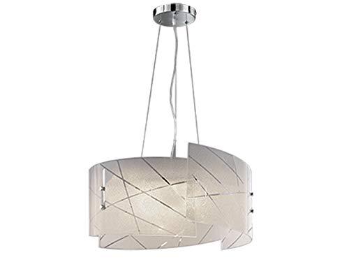 Exclusieve hanglamp SANDRINA met gesatineerde lampenkap van glas in wit met discreet strependesign, hoogte 150 cm, kap Ø50 cm