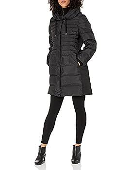 Fleet Street Ltd Women s Down Coat with Inner Bib and Hood Black Medium