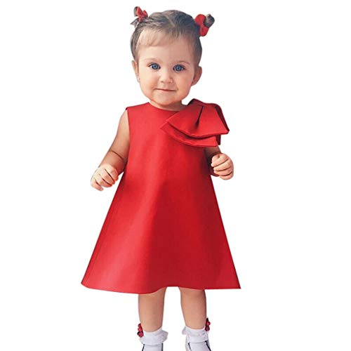 Robe Pour Enfants Infantile Bébé Fille Couleur Unie Sans Manches Arc Robe De Princesse Enfant Sans Manches Arc Une Ligne Robe De Princesse Robe De Mariée Robe Cadeau D'anniversaire 3mois-3ans (90)