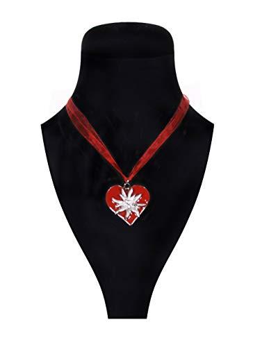 Alpenfeuer 1319 Dirndl-Halskette Edelweiß Rot Blume Edelweiss