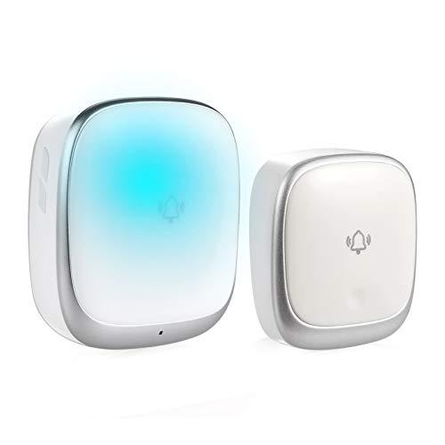 ワイヤレスチャイム 玄関ドアベル 自動発電 音と光で呼び出し 7色提示led 電池不要 防水防塵 4段階音量調節 介護 飲食店/玄関/浴室などに適用 180M無線範囲 送信機1 受信機1