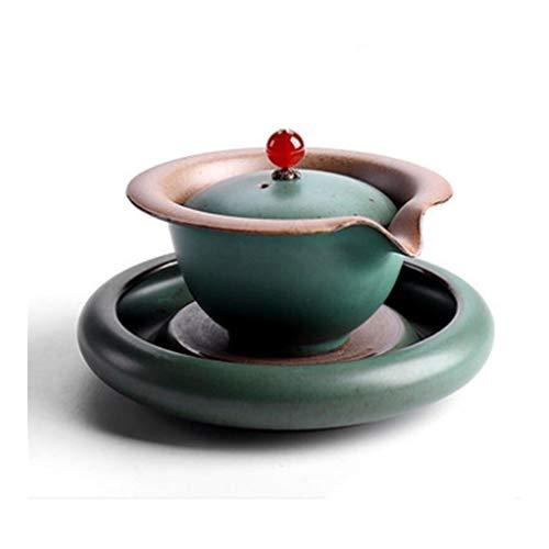ARTFFEL Elegante tazón de té de porcelana con tapa Gaiwan plato de cerámica para oficina, decoración de ceremonias de té, color dorado