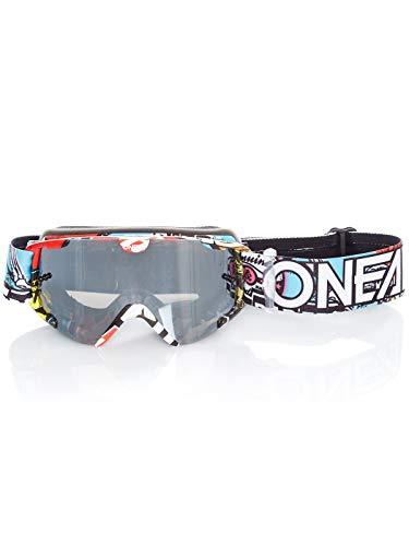 O'NEAL | Occhiali da bici e motocross | MX MTB DH FR Downhill Freeride | Cinturino regolabile, comfort ottimale, ventilazione perfetta | B-30 Crank Goggle | Unisex | Nero Multi Mirrored | Taglia unica