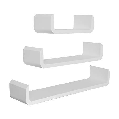 Meerveil Wandregal 3er Set U Form Schweberegal Hängeregal Wandboard Bücherregal 60cm/45cm/30cm, Tiefe 15cm, Weiß