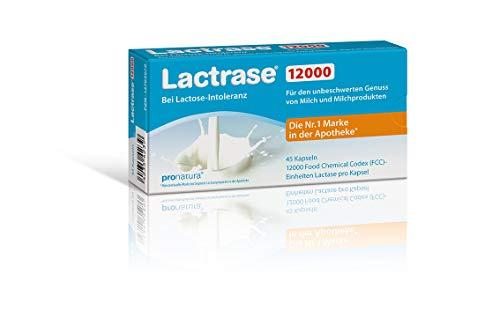 Lactrase 12000 Lactase-Tabletten bei Lactoseintoleranz – 45 Laktase-Kapseln für den Genuss von Milch & Milchprodukten bei Laktoseunverträglichkeit