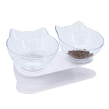 ShawFly Lot de 2 gamelles pour chat à plateforme inclinée à 15° avec support et pelle à nourriture, bol simple et double transparent en plastique