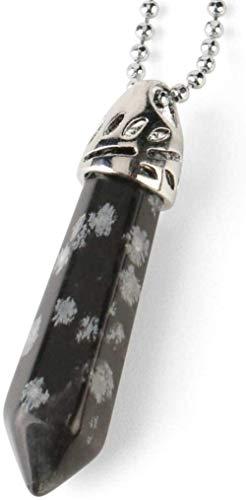 NC188 Collares Pendientes de Piedra para Mujer Collar con Colgante de Piedra de Copo de Nieve cónico Hexagonal de Piedras Preciosas Naturales con Cadena de Plata Regalo