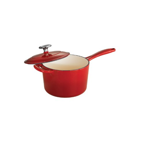 Tramontina 80131/061DS Enameled Cast Iron Covered Sauce Pan 25Quart Gradated Red