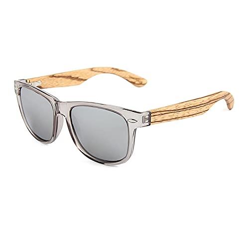 QFSLR Gafas de sol, Clásico redondo polarizado gafas de sol para hombres y mujeres, gafas de sol de madera, protección Uv400,I